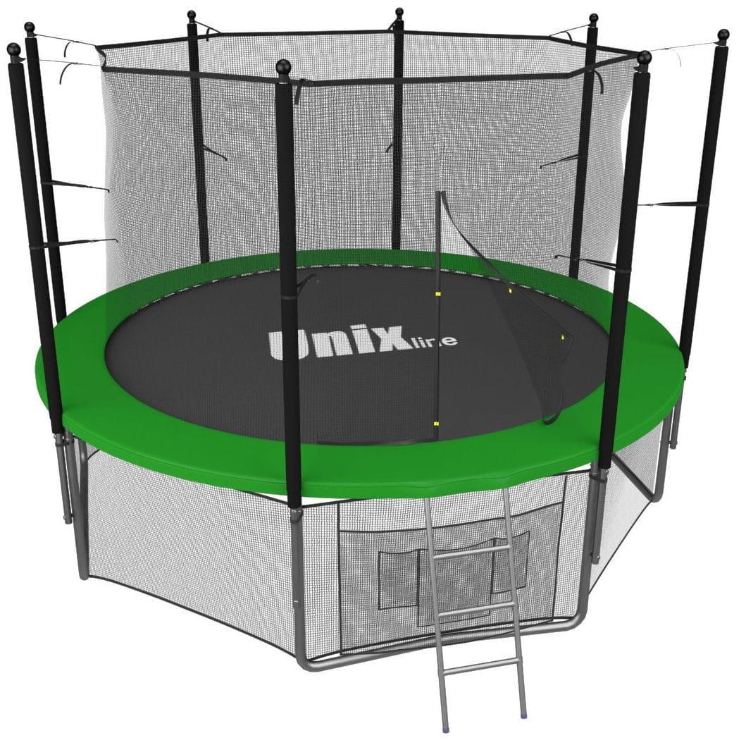 Батут Unix с внутренней сеткой и лестницей 10 футов - 305 см (зеленый)