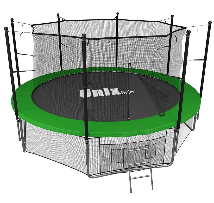 Батут Unix с внутренней сеткой и лестницей 14 футов - 427 см (зеленый)