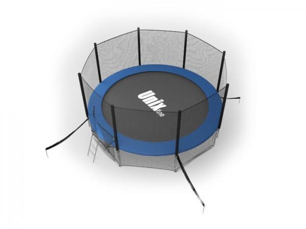 Батут Unix с внешней сеткой и лестницей 14 футов - 427 см (голубой)