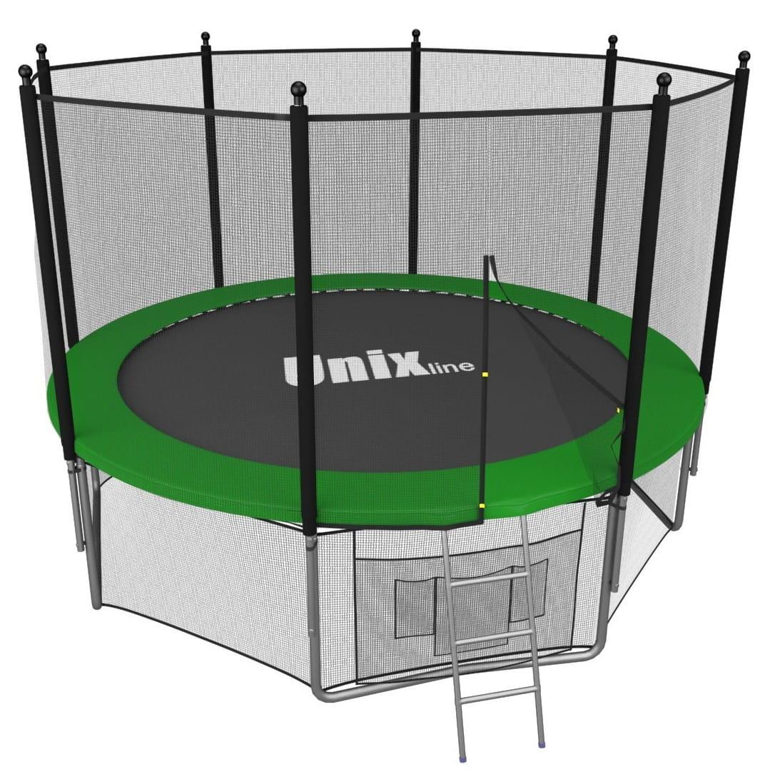 Батут Unix с внешней сеткой и лестницей 14 футов - 427 см (зеленый)