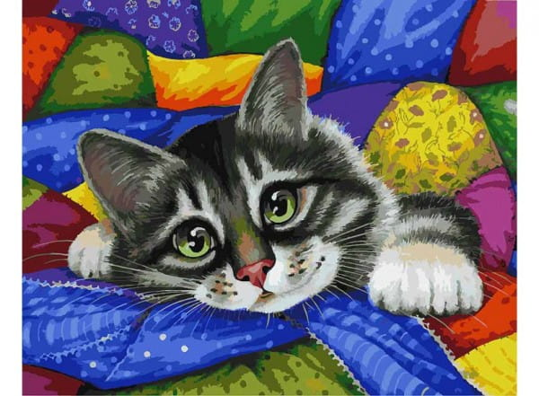 Раскраска по номерам Белоснежка Котик в лоскутках