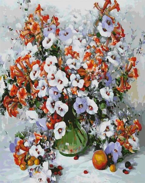 Раскраска по номерам Белоснежка Городские цветы