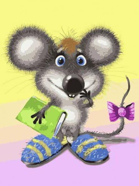 Раскраска по номерам на цветном холсте Белоснежка Ученый мышонок