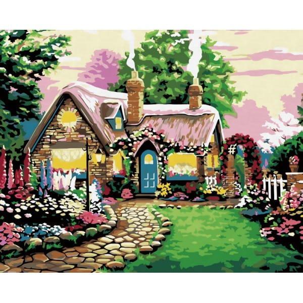 Раскраска по номерам Белоснежка Сказочный домик