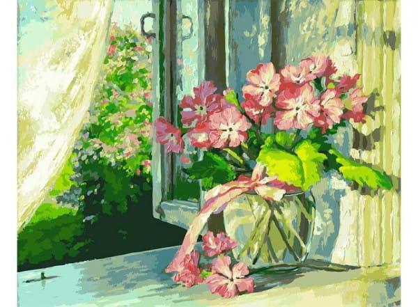 Раскраска по номерам Белоснежка Букет на окне