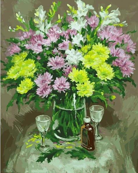Раскраска по номерам Белоснежка Осенние хризантемы