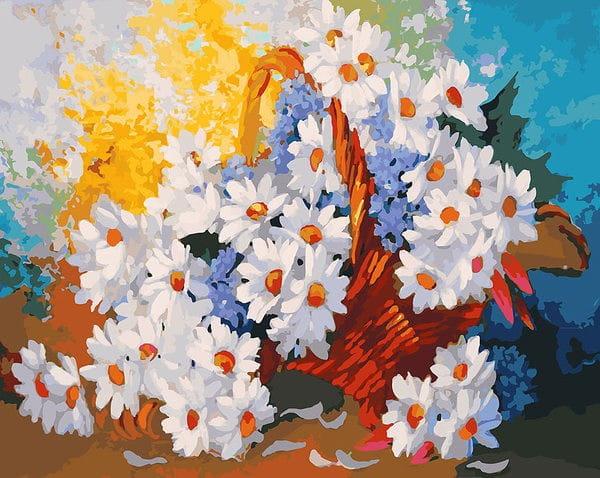 Раскраска по номерам Белоснежка Корзинка с ромашками