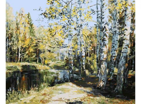 Раскраска по номерам Белоснежка Березы у пруда