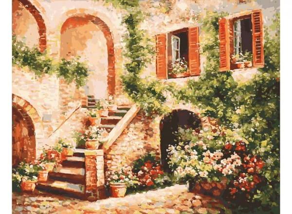 Раскраска по номерам Белоснежка Цветущий дворик