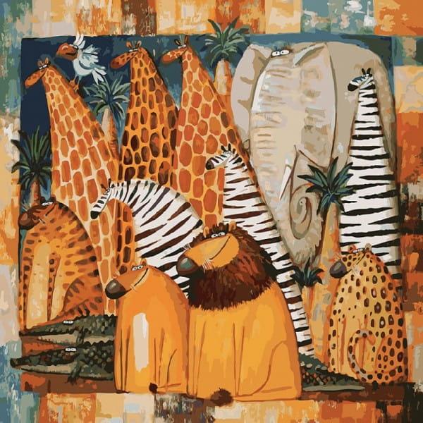 Раскраска по номерам Белоснежка Животные Африки