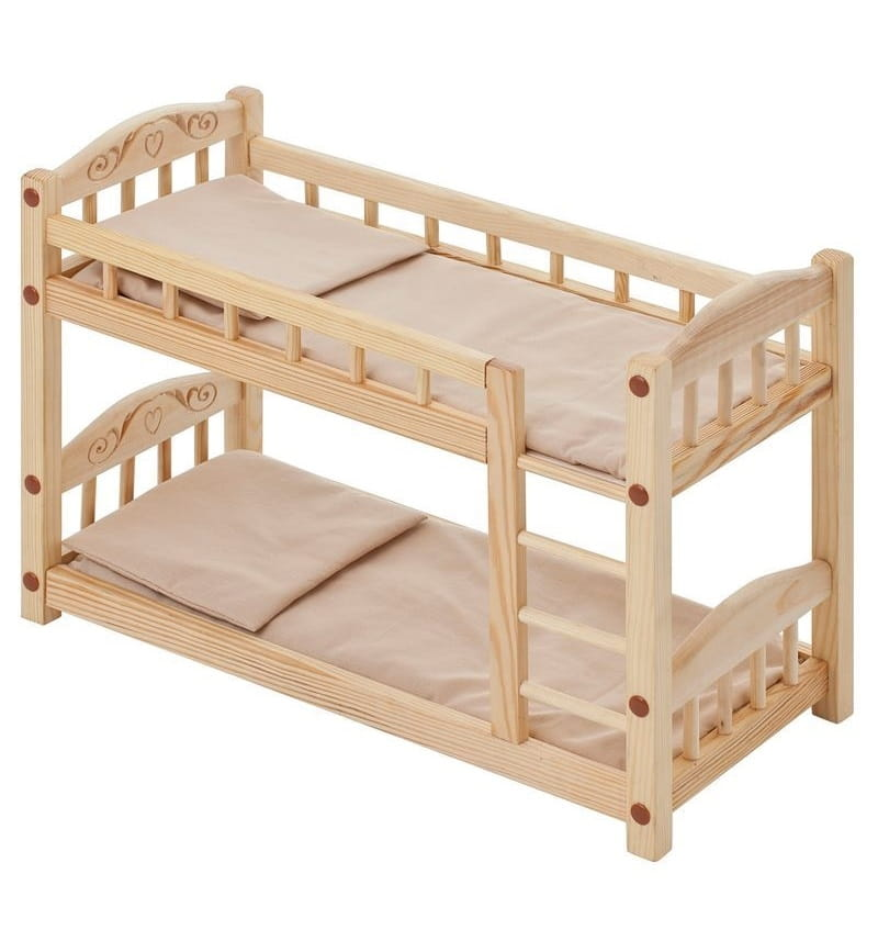 Двухъярусная кукольная кроватка из дерева Paremo PFD116-05 (бежевый текстиль)