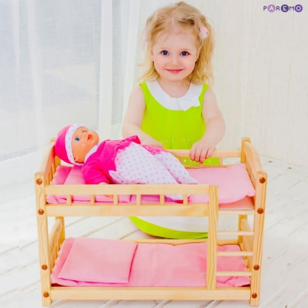 Купить Двухъярусная кукольная кроватка из дерева Paremo (розовый текстиль) в интернет магазине игрушек и детских товаров