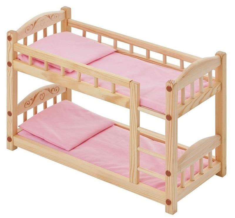 Двухъярусная кукольная кроватка из дерева PAREMO (розовый текстиль)