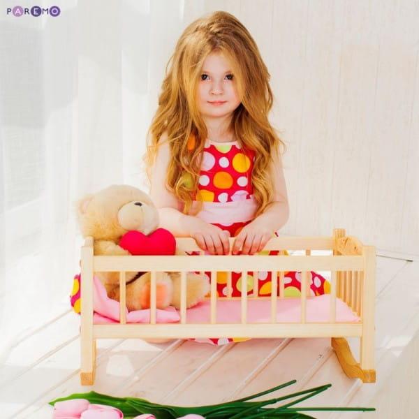 Купить Деревянная кроватка-люлька для кукол Paremo (розовый текстиль) в интернет магазине игрушек и детских товаров