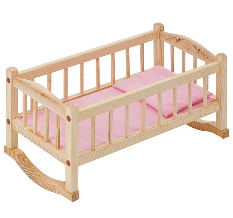 Деревянная кроватка-люлька для кукол PAREMO (розовый текстиль)
