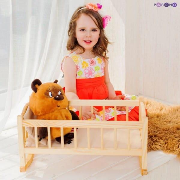 Купить Кукольная люлька из дерева Paremo (бежевый текстиль) в интернет магазине игрушек и детских товаров
