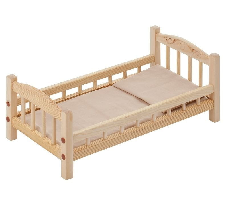Классическая кроватка для кукол PAREMO (бежевый текстиль)