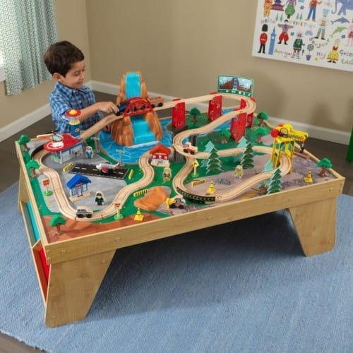 Игровой набор для мальчиков Kidkraft Железнодорожная станция Waterfall Station Train Set and Table In Natural