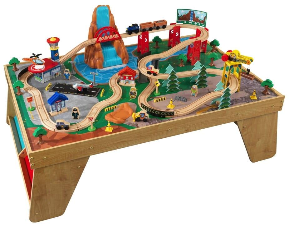 Игровой набор для мальчиков Kidkraft Железнодорожная станция Waterfall Station Train Set and Table In Natural - Железные дороги