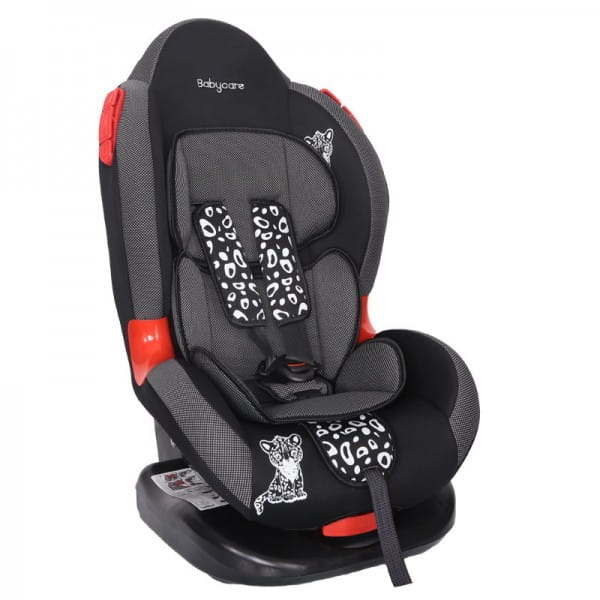 Детское автомобильное кресло Baby Care Люкс Леопардик серый карбон