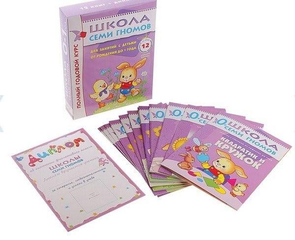 Полный годовой курс Школы Семи Гномов 0-1 год - 12 книг с картонной вкладкой (Мозаика-Синтез)
