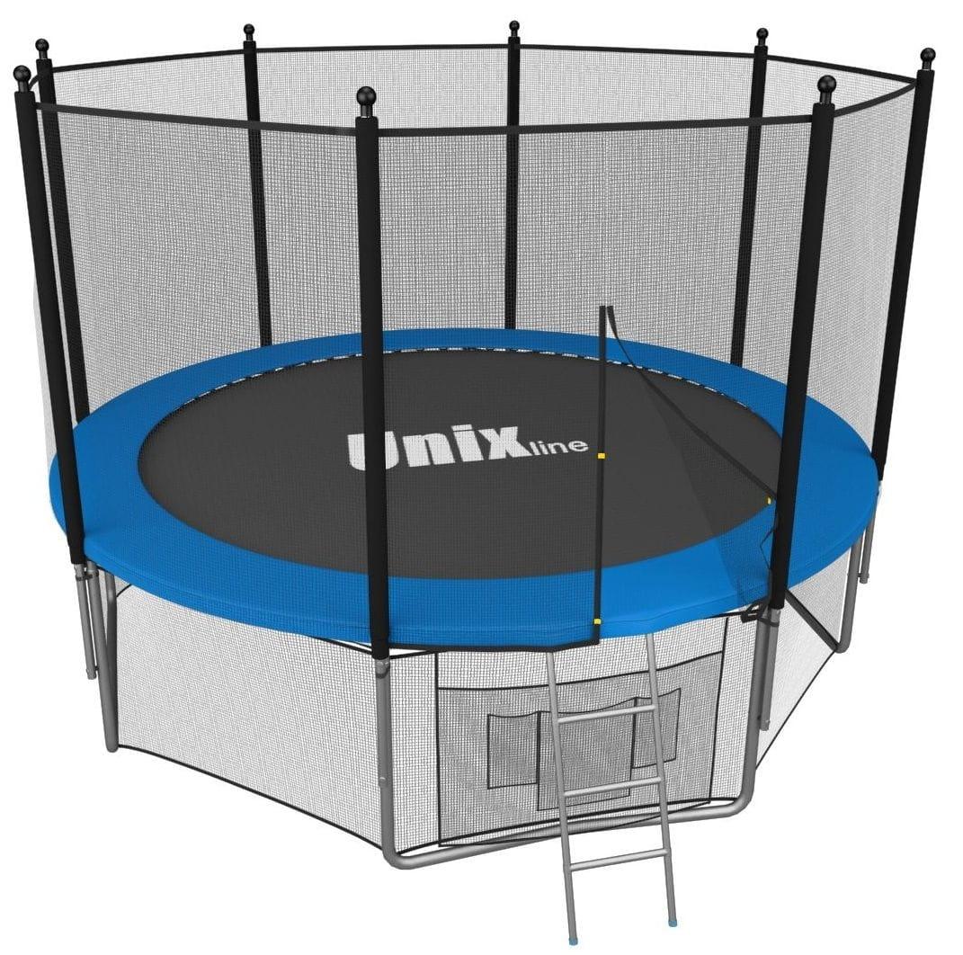 Батут Unix с внешней сеткой и лестницей 8 футов - 244 см (голубой)