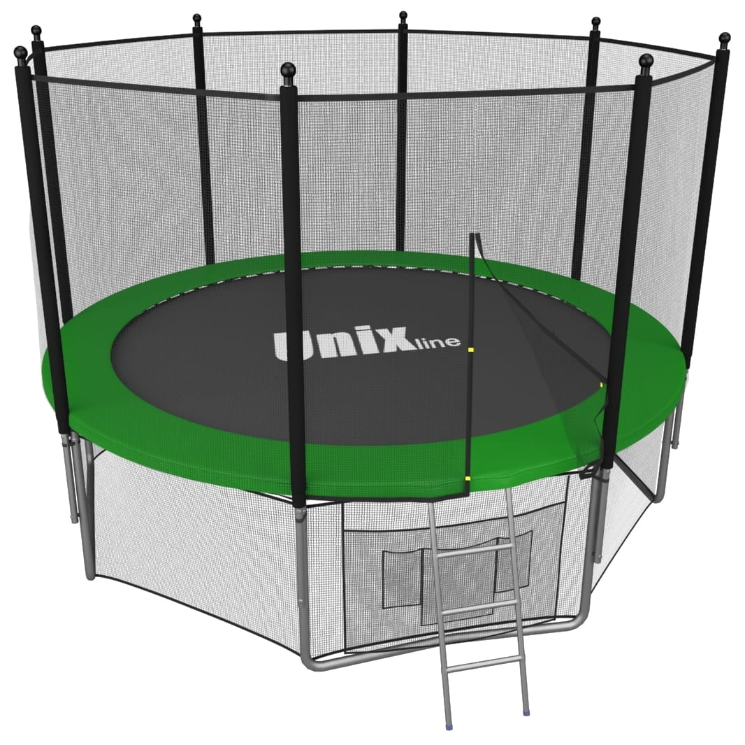 Батут UNIX с внешней сеткой и лестницей 8 футов - 244 см (зеленый)