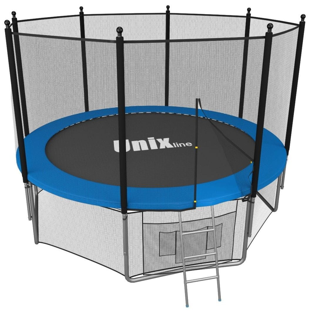 Батут UNIX с внешней сеткой и лестницей 12 футов - 366 см (голубой)
