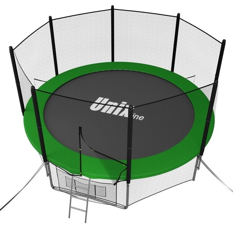 Батут UNIX с внешней сеткой и лестницей 10 футов - 305 см (зеленый)