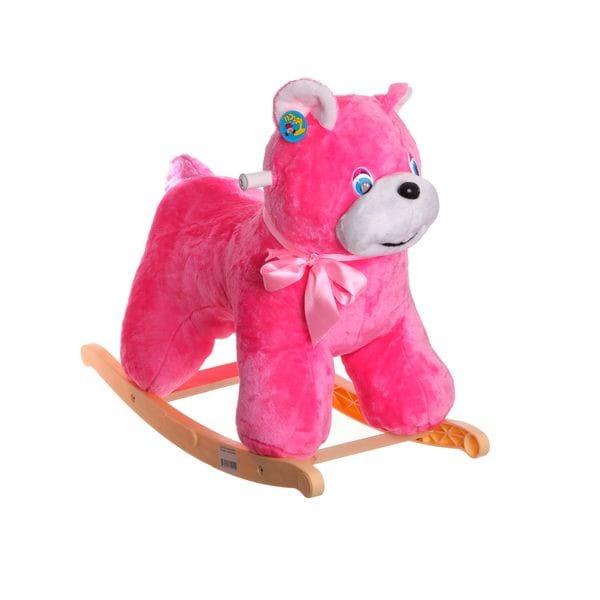 Мягкая качалка Тутси Р71184 Медведь - розовая