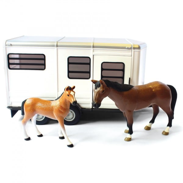 Купить Игровой набор Tomy Farm Прицеп для перевозки лошадей с лошадью и жеребенком в интернет магазине игрушек и детских товаров