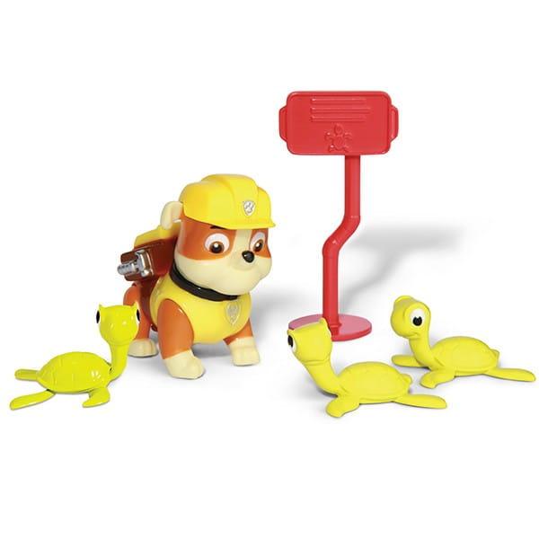Игровой набор Paw Patrol Щенячий Патруль Фигурка спасателя с питомцем - Крепыш и черепашки