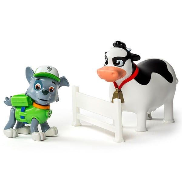 Игровой набор Paw Patrol Щенячий Патруль Фигурка спасателя с питомцем - Рокки и корова