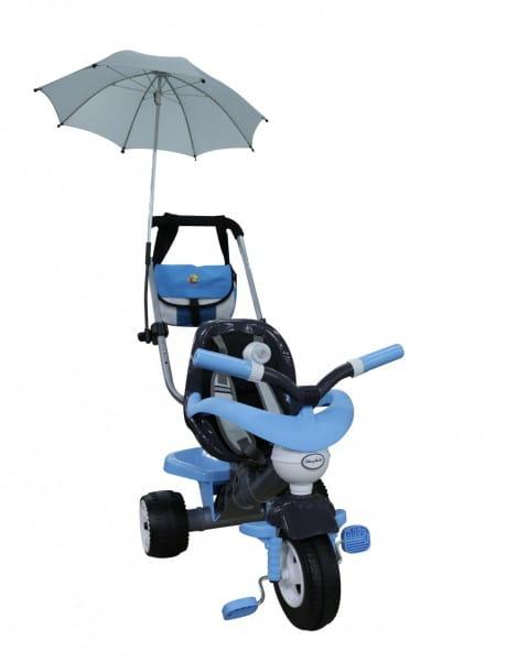 Детский велосипед Coloma Амиго №3 (с ограждением, клаксоном, ручкой, ремешком, мягким сиденьем, сумкой и зонтиком)
