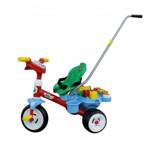 Купить Детский велосипед Coloma Беби Трайк с ручкой, звуковым сигналом и набором из 11 элементов в интернет магазине игрушек и детских товаров