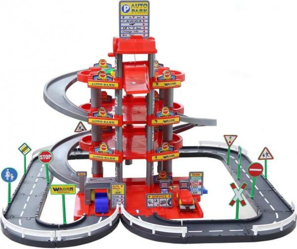 Игровой набор Wader Паркинг с дорогой и автомобилями (4 уровня) - красный