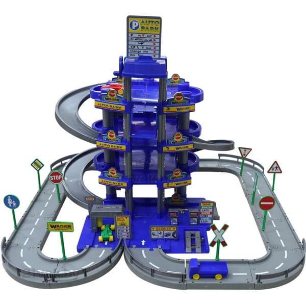 Игровой набор Wader Паркинг с дорогой и автомобилями (4 уровня) - синий