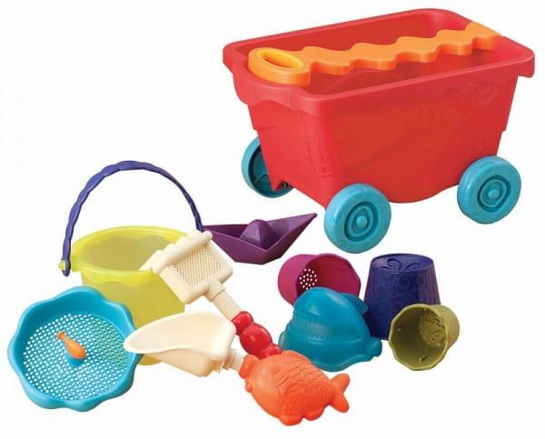 Купить Тележка B Summer с набором для песка - красная в интернет магазине игрушек и детских товаров