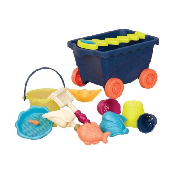 Купить Тележка B Summer с набором для песка - синия в интернет магазине игрушек и детских товаров