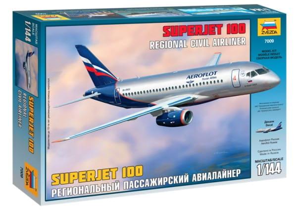 Сборная модель Звезда 7009з Пассажирский авиалайнер Суперджет 100 1:144