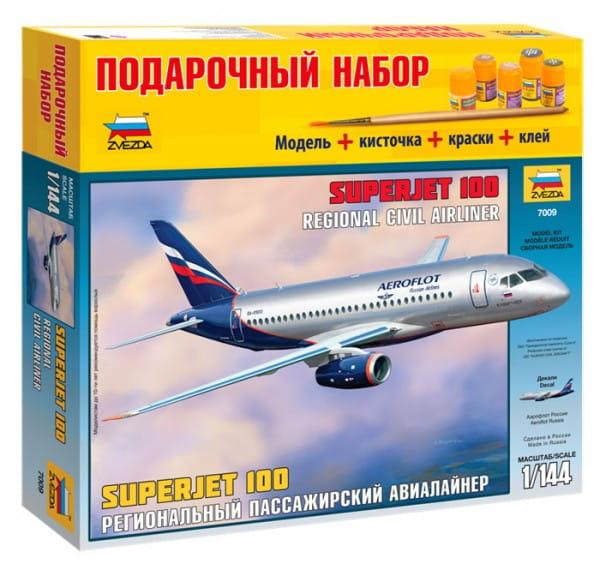 Подарочный набор Звезда 7009П Пассажирский авиалайнер Суперджет 100