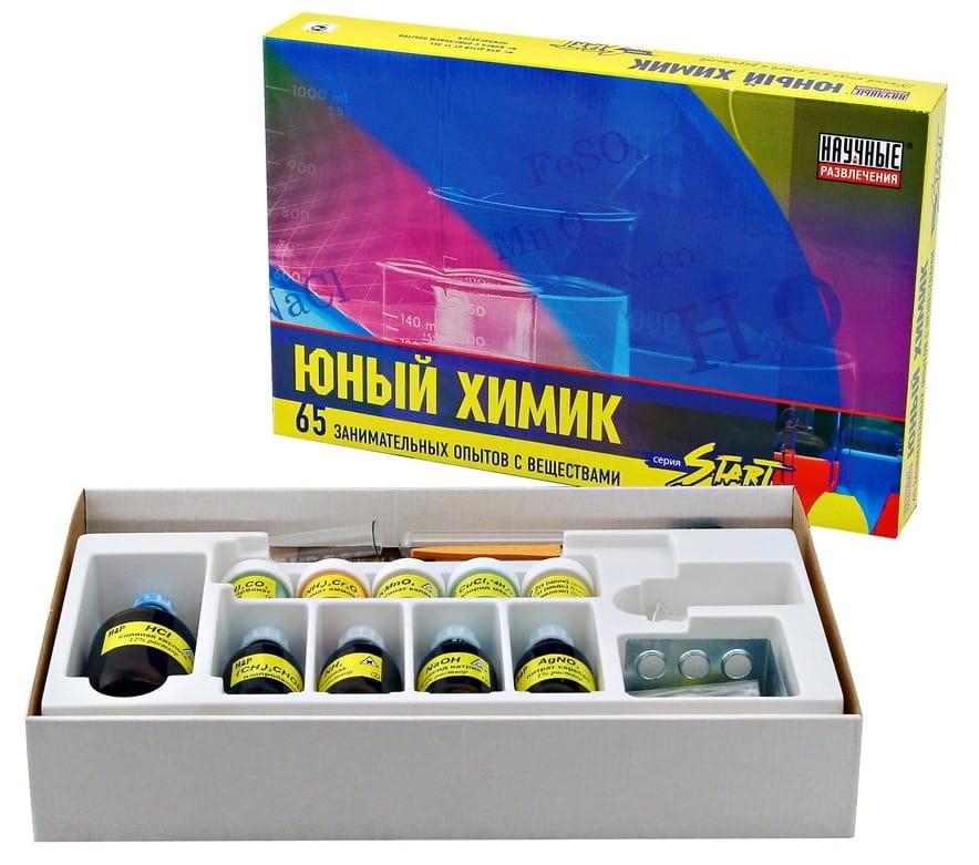 Стартовый набор для опытов Научные развлечения НР00014 Юный химик (65 опытов)