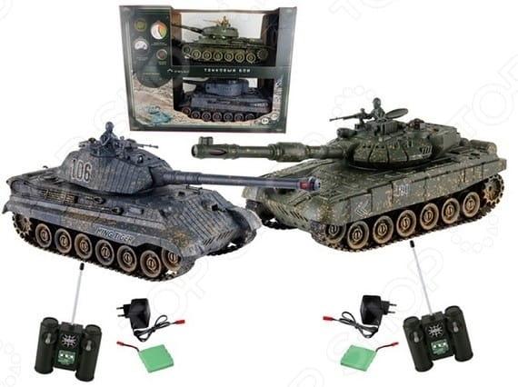 Купить Танковый бой Yako М Т90 против Королевского тигра 1:24 - серые в интернет магазине игрушек и детских товаров