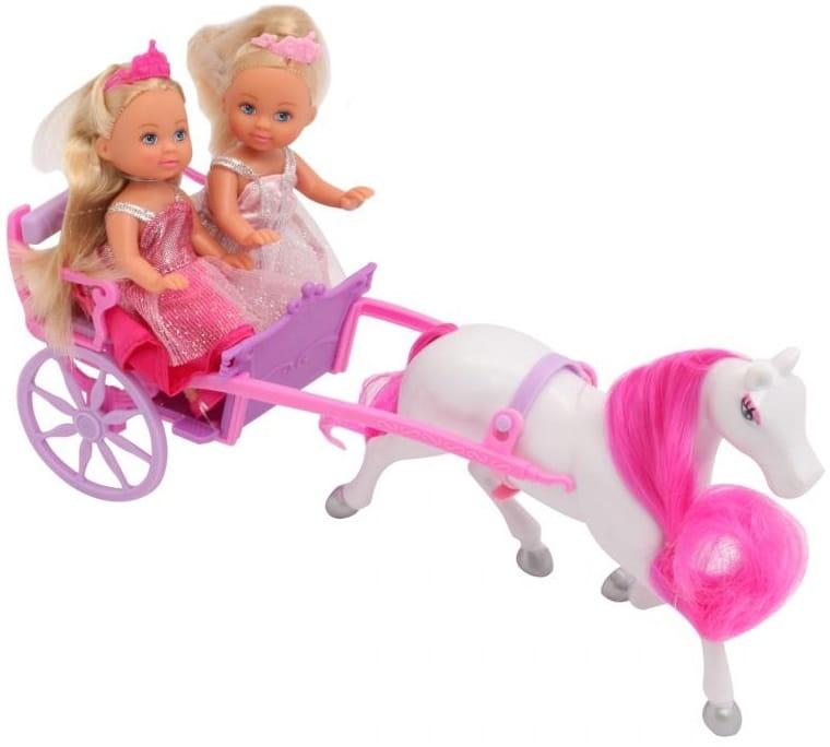 Игровой набор Simba 5736646 2 куклы Evi Еви-принцессы и лошадь с каретой