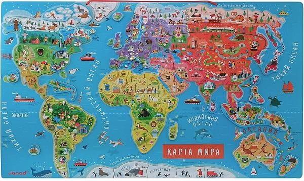 Магнитный пазл для обучения Janod Карта мира - русский язык