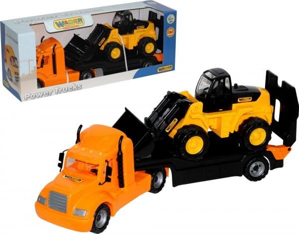 Игровой набор Полесье 55736_PLS Майк автомобиль-трейлер с трактором-погрузчиком