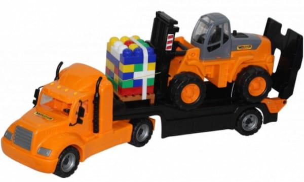 Игровой набор Полесье 55699_PLS Майк автомобиль-трейлер с автокаром и конструктором на 30 элементов