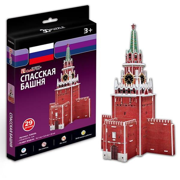 Купить Объемный 3D пазл CubicFun Спасская башня (Россия) в интернет магазине игрушек и детских товаров