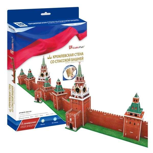 Купить Объемный 3D пазл CubicFun Кремлевская стена со Спасской башней (Россия) в интернет магазине игрушек и детских товаров