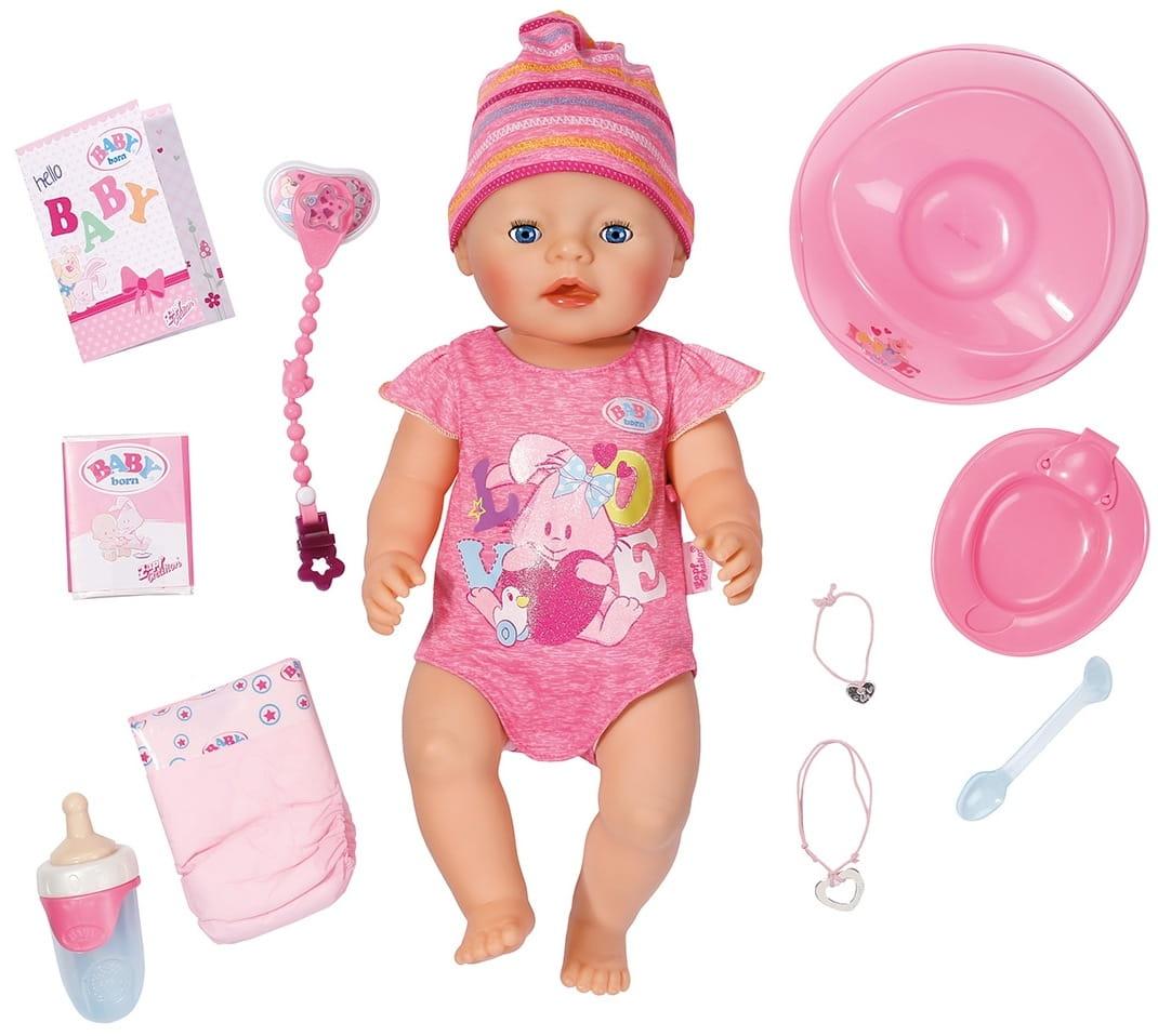 Интерактивная кукла-пупс BABY BORN в полосатой шапочке - 43 см (Zapf Creation)